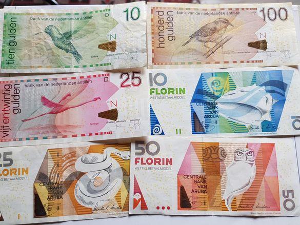 Aruba and Curacao banknotes