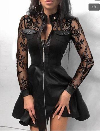 Стилна рокля с дантелени ръкави