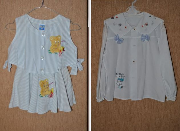 Costum pentru fetite 6-7 ani (bluza+fusta+camasa), din bumbac 100%