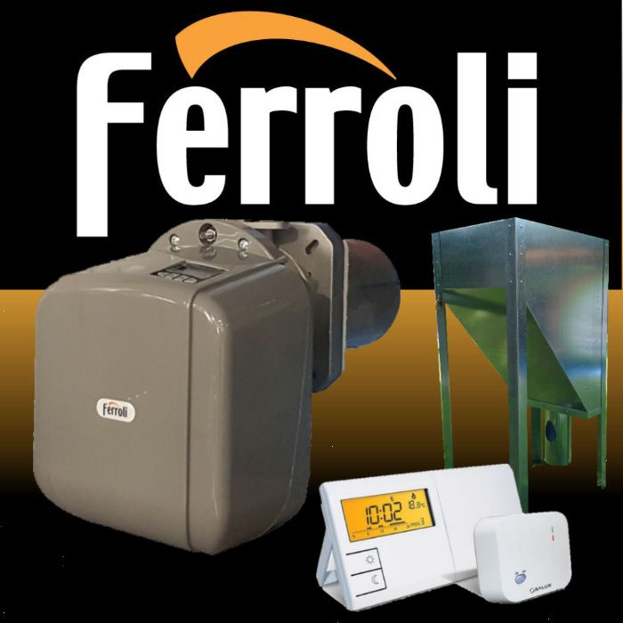 Пелетна горелка Фероли Ferroli SUN P7N с бункер и безжичен термостат