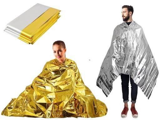 Термо одеяло за оцеляване 160см-210см жълт/сребърен