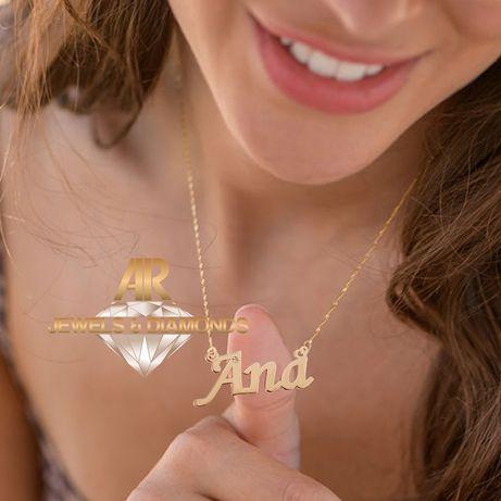 Lant Aur 14 K personalizat cu nume la alegere si DIAMANT