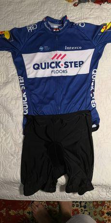 Tricou  original ciclism Quickstep L și pantaloni