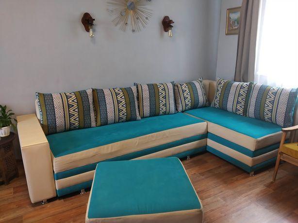 Мебель мягкая угловой диван + пуф