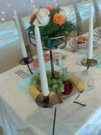 Suport fier forjat arcada decor nunti flori fructe lumanari chevalet