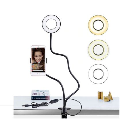 Clema cu suport flexibil telefon + lampa LED ring vlogging youtube