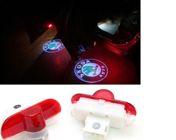 Set 2 lampi dedicate cu logo Skoda pentru portiere Skoda Octavia ,Yeti