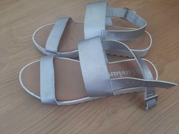 sandale piele 37 argintii