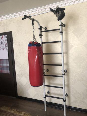 Шведская станка лестница + боксёрская груша