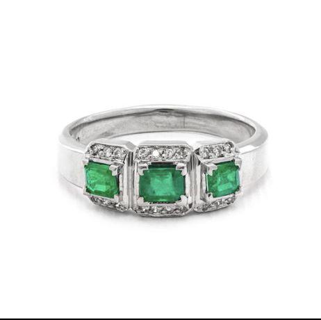 Inel Platina cu Smaralde si Diamante  Naturale Certificat GWLabs