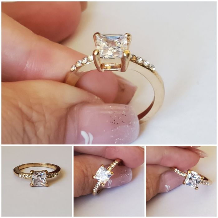 GPA 58,inel placat aur 14k, zirconiu alb, logodna Brasov - imagine 1