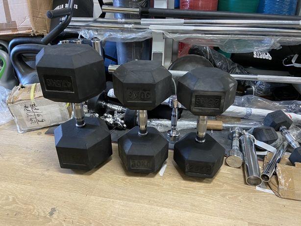 Set gantere profesionale hexagonale noi cate o buc47,5 kg+30 kg+25 kg
