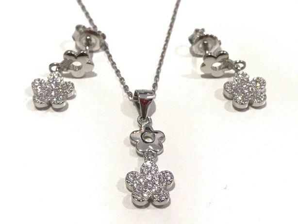 Argint set bijuterii Floare - cadou pentru ea- lant, pandantiv, cercei