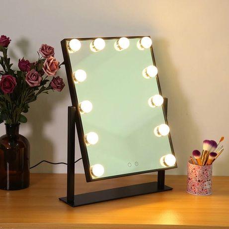 Oglinda machiaj cu suport, luminata cu 12 LED-uri, 3 culori, 30 cm
