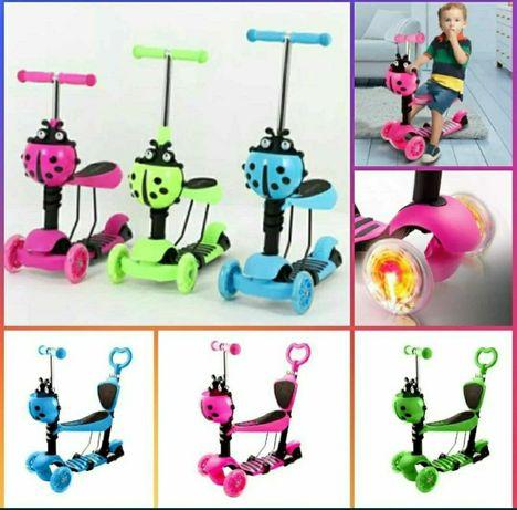 Страхотна Детска Тротинетка 5 в 1 с родителски контрол и светещи колел
