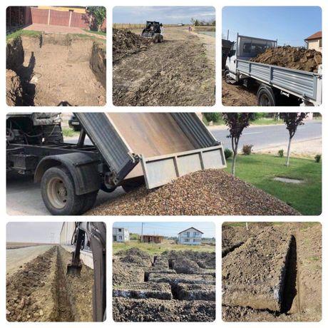 Transport nisip balastru sort pământ demolări săpături Fundație