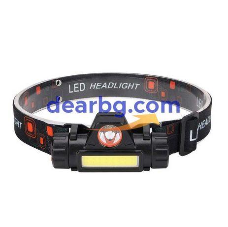 """Компактен LED Фенер """"Челник"""" с 2 LED Светлини и USB зареждане"""
