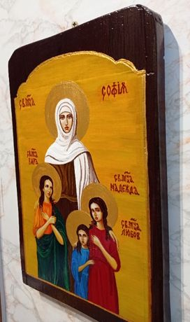 Икона на Св. Вяра, Надежда и Любов и майка им София - рисувана