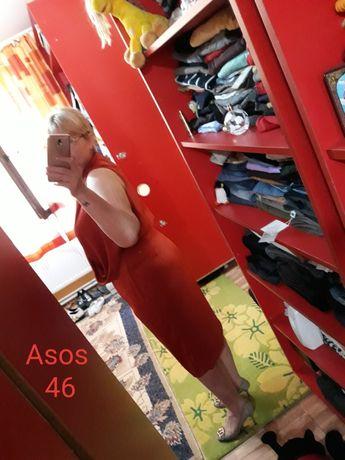Rochie fonsată Asos 46, roșu cărămiziu,  ascunde imperfecțiunile