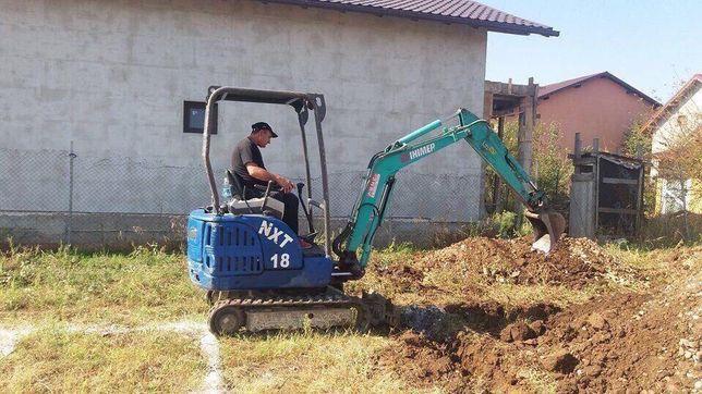 Inchiriez mini-excavator, Lucrari Sapat-uri, Fundati, casa, gard, apa