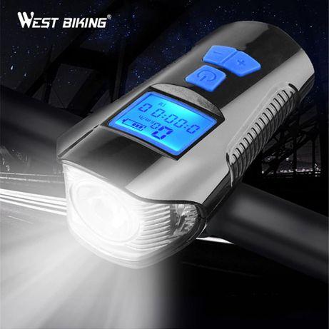 Far lanternă cu sunet si lumină frontală pt bicicletă cu vitozometru