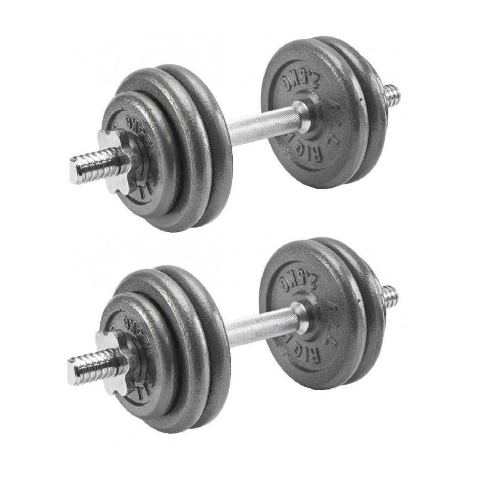 Дъмбели с Метални Дискове - 2 бр х 15 кг , Разглобяеми Гири за Фитнес