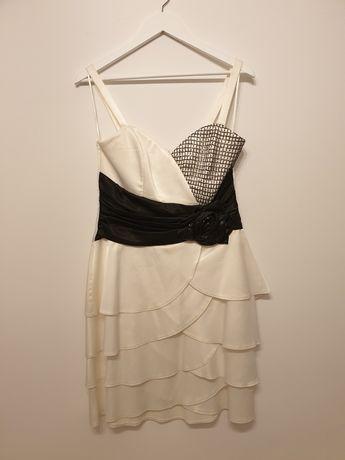 Rochie de ocazie alba cu detalii negre