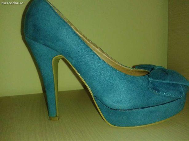 Pantofi dama albastri 36 cu platforma