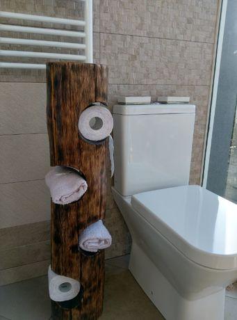 Стойка за тоалетна хартия и кърпи от масив(Бук)-Ръчна изработка Уникат