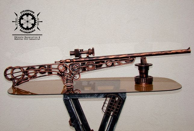 Arma de vanatore CUPRU-sculptura fier recic.Cadou vanator