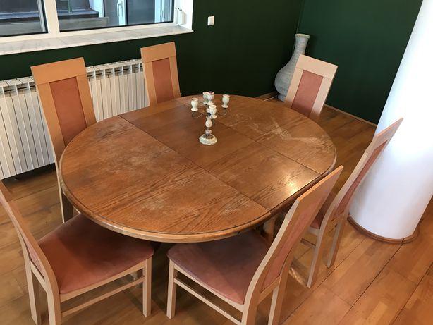 Masa lemn masiv extensibila cu 6 scaune