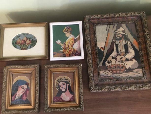 Vand 5 tablouri vechi inramate goblen lucrat manual