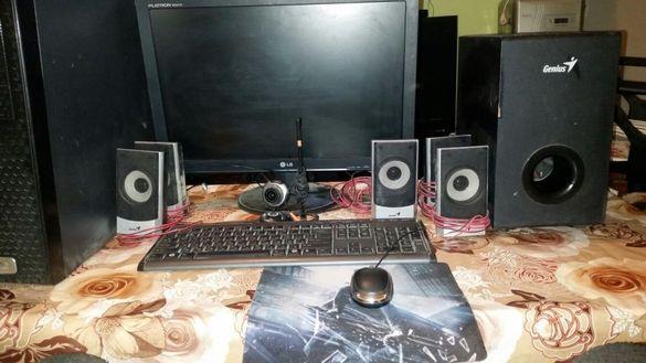 Продавам настолен компютър монитюр 22инча LG музикален субуфер