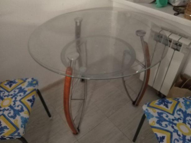 Стеклянный стол две столешницы