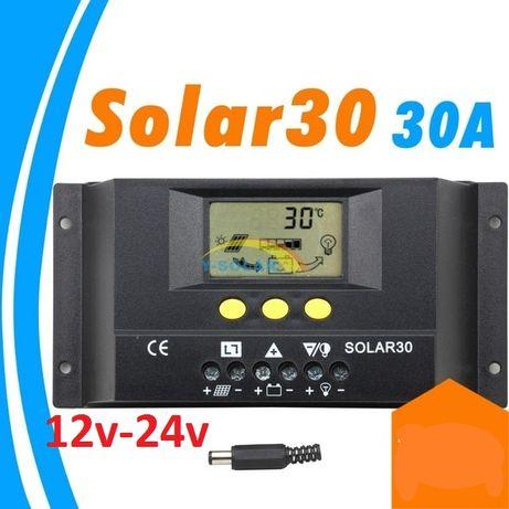 Соларен контролер 12v /24v 30А ВИСОК КЛАС с амперметър солар регулатор