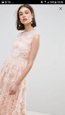 Rochie ocazie roz prafuit cu flori 3d