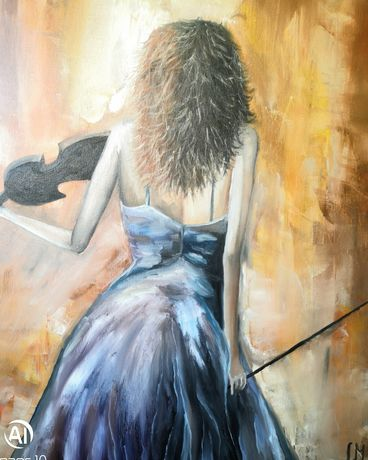 """КартинА """"Цигуларка"""" - маслени бои"""