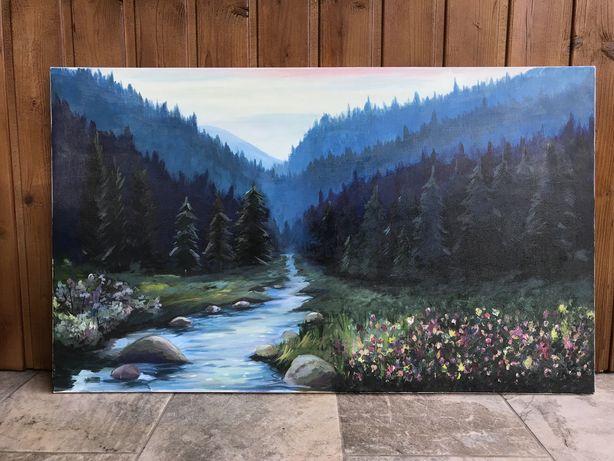 Tablou peisaj munte pictat manual