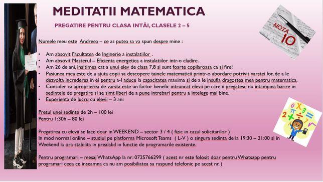 Meditatii Matematica cls 1-5 (100 lei - 2h)- Sector 3/4