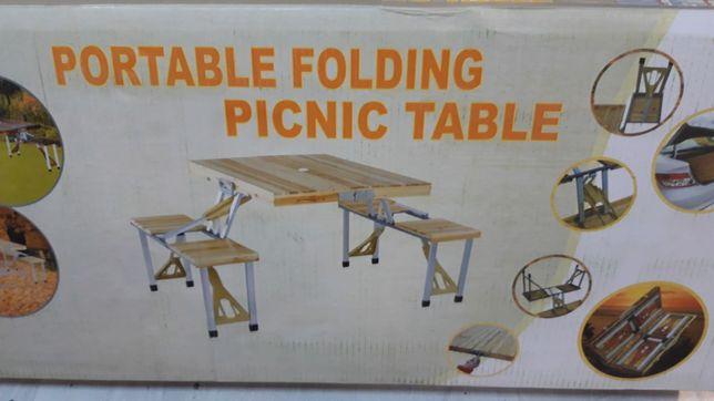 Masa pliabila, 4 scaune, lemn. Gradina, camping, picnic, pescuit. Noua