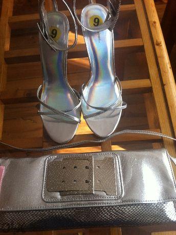сребристи дамски сандали с ток №39/40 и 4анта