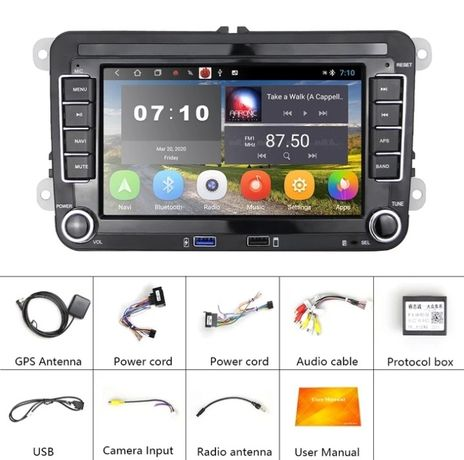 Navigatie Android 10 MP5 7inch VW ,SKODA, SEAT, GOLF PASSAT