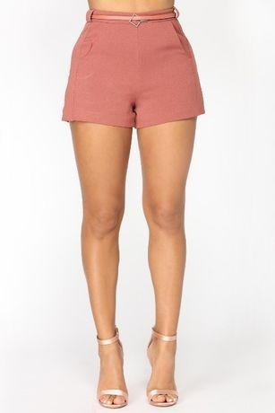 Нови къси панталонки цвят пепел от рози размер С колан цип висока тали