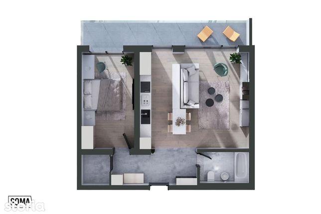 Apartament de 2 camere, tip 2G3, ultra finisat, etaj 12, zona centrala