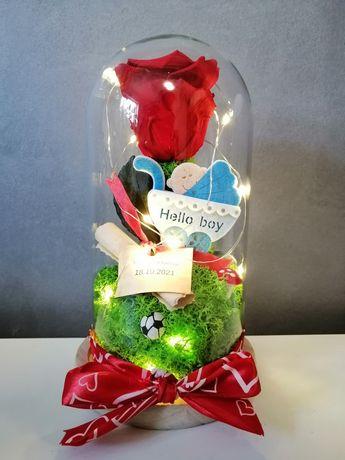 Cadouri personalizate trandafir criogenat în cupola de sticlă cu ledur