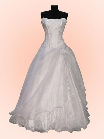 Прелестна булчинска рокля от 2 части с було и обръч, номер 50