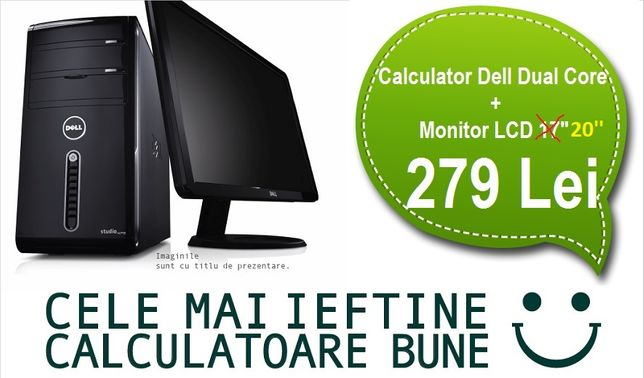 "Calculator Complet Dual Core Cu Monitor LCD 20"" PROMO Limitat Garantie"