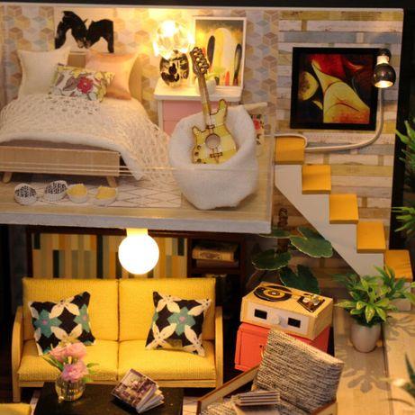 Casa de papusi Diorama din lemn 3D luminata -jucarie copii