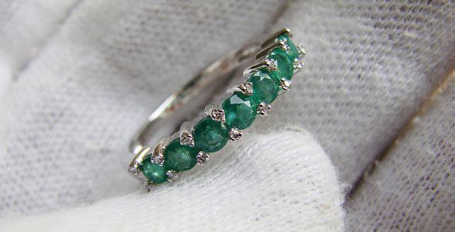 Unicat Inel Aur Alb 14K Cu Smaral Smaralde Diamant Diamante