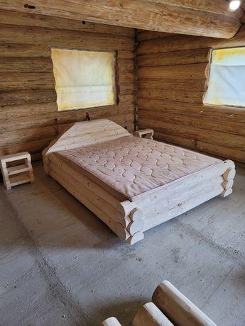 Pat din lemn masiv, pat rustic, mobilier dormitor lemn, noptiere lemn